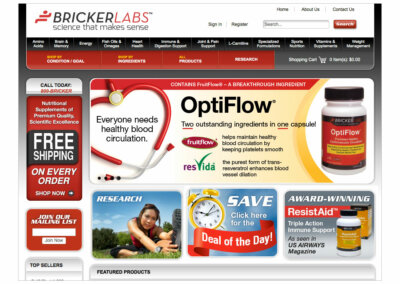 Website Layout created with Adobe Creative Suite by CJ Mascarelli for Bricker Labs.