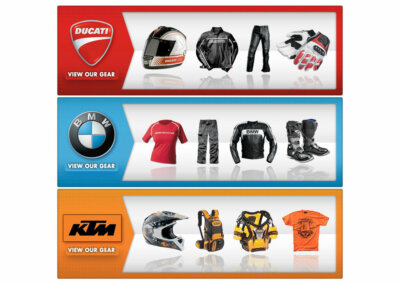 Various Web Banners - Created with Adobe Creative Suite by CJ Mascarelli for GO AZ Motorcycles.