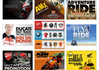 Various Web Ads - Created with Adobe Creative Suite by CJ Mascarelli for GO AZ Motorcycles.