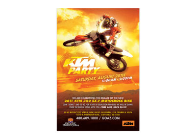 KTM Party Poster Design - Created with Adobe Creative Suite by CJ Mascarelli for GO AZ Motorcycles.