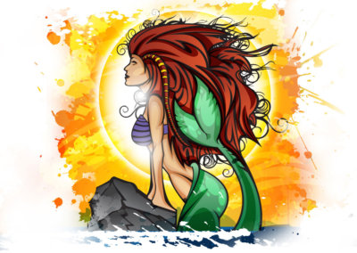 MERMAID - Vector-based illustration created with Adobe Illustrator by CJ Mascarelli.