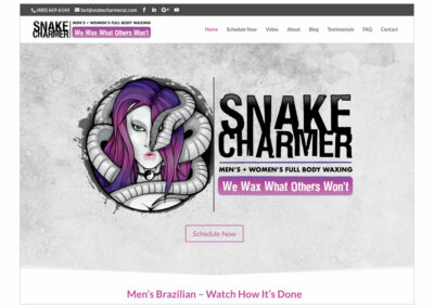 Website Design created with Adobe Creative Suite and WordPress by CJ Mascarelli for Snake Charmer Body Waxing.