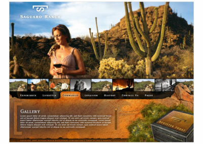 Website Layout created with Adobe Creative Suite by CJ Mascarelli for Saguaro Ranch.