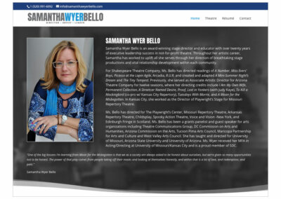 Website Design created with Adobe Creative Suite and WordPress by CJ Mascarelli for Samantha Wyer Bello.