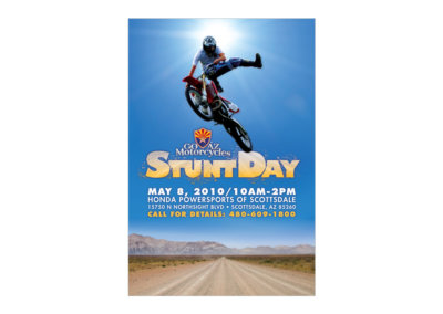 Stunt Day Poster Design - Created with Adobe Creative Suite by CJ Mascarelli for GO AZ Motorcycles.