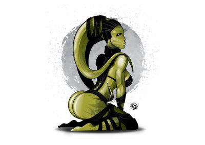 BROODING JADE - Vector-based illustration created with Adobe Illustrator by CJ Mascarelli.