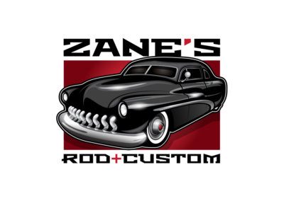 Logo Design created with Adobe Illustrator by CJ Mascarelli for Zane's Rod + Custom.